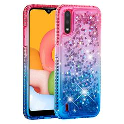 Diamond Frame Liquid Glitter Quicksand Sequins Phone Case for Samsung Galaxy A01 - Pink Blue