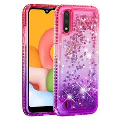Diamond Frame Liquid Glitter Quicksand Sequins Phone Case for Samsung Galaxy A01 - Pink Purple