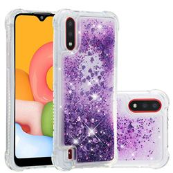 Dynamic Liquid Glitter Sand Quicksand Star TPU Case for Samsung Galaxy A01 - Purple