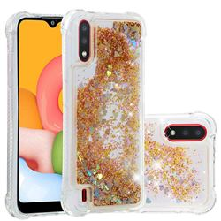Dynamic Liquid Glitter Sand Quicksand Star TPU Case for Samsung Galaxy A01 - Diamond Gold