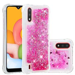 Dynamic Liquid Glitter Sand Quicksand TPU Case for Samsung Galaxy A01 - Pink Love Heart