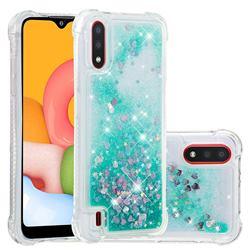 Dynamic Liquid Glitter Sand Quicksand TPU Case for Samsung Galaxy A01 - Green Love Heart
