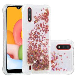 Dynamic Liquid Glitter Sand Quicksand TPU Case for Samsung Galaxy A01 - Rose Gold Love Heart