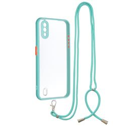 Necklace Cross-body Lanyard Strap Cord Phone Case Cover for Samsung Galaxy A01 - Blue