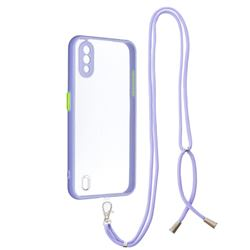Necklace Cross-body Lanyard Strap Cord Phone Case Cover for Samsung Galaxy A01 - Purple