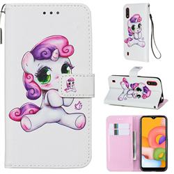 Playful Pony Matte Leather Wallet Phone Case for Samsung Galaxy A01