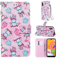 Unicorn and Flowers Matte Leather Wallet Phone Case for Samsung Galaxy A01