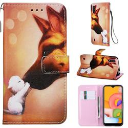 Hound Kiss Matte Leather Wallet Phone Case for Samsung Galaxy A01