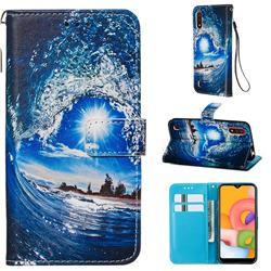 Waves and Sun Matte Leather Wallet Phone Case for Samsung Galaxy A01
