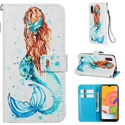 Mermaid Matte Leather Wallet Phone Case for Samsung Galaxy A01