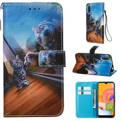Mirror Cat Matte Leather Wallet Phone Case for Samsung Galaxy A01