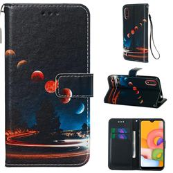 Wandering Earth Matte Leather Wallet Phone Case for Samsung Galaxy A01