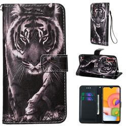 Black and White Tiger Matte Leather Wallet Phone Case for Samsung Galaxy A01