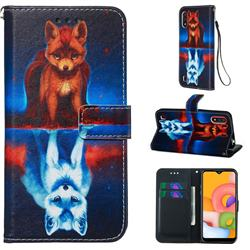 Water Fox Matte Leather Wallet Phone Case for Samsung Galaxy A01