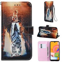 Cat and Tiger Matte Leather Wallet Phone Case for Samsung Galaxy A01