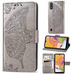 Embossing Mandala Flower Butterfly Leather Wallet Case for Samsung Galaxy A01 - Gray