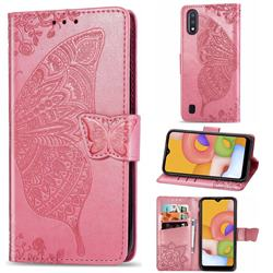 Embossing Mandala Flower Butterfly Leather Wallet Case for Samsung Galaxy A01 - Pink