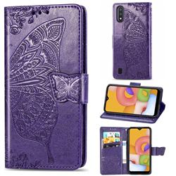 Embossing Mandala Flower Butterfly Leather Wallet Case for Samsung Galaxy A01 - Dark Purple