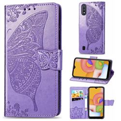 Embossing Mandala Flower Butterfly Leather Wallet Case for Samsung Galaxy A01 - Light Purple