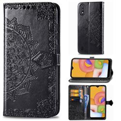 Embossing Imprint Mandala Flower Leather Wallet Case for Samsung Galaxy A01 - Black
