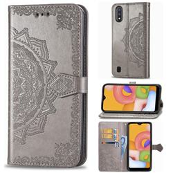 Embossing Imprint Mandala Flower Leather Wallet Case for Samsung Galaxy A01 - Gray