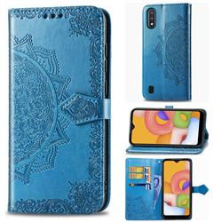 Embossing Imprint Mandala Flower Leather Wallet Case for Samsung Galaxy A01 - Blue