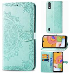 Embossing Imprint Mandala Flower Leather Wallet Case for Samsung Galaxy A01 - Green