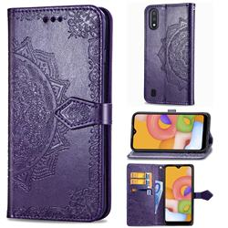 Embossing Imprint Mandala Flower Leather Wallet Case for Samsung Galaxy A01 - Purple