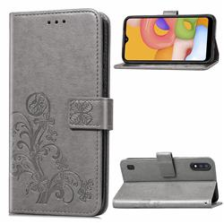 Embossing Imprint Four-Leaf Clover Leather Wallet Case for Samsung Galaxy A01 - Grey