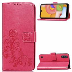 Embossing Imprint Four-Leaf Clover Leather Wallet Case for Samsung Galaxy A01 - Rose