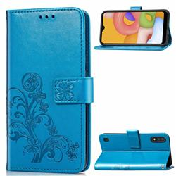 Embossing Imprint Four-Leaf Clover Leather Wallet Case for Samsung Galaxy A01 - Blue