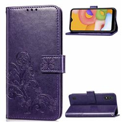 Embossing Imprint Four-Leaf Clover Leather Wallet Case for Samsung Galaxy A01 - Purple