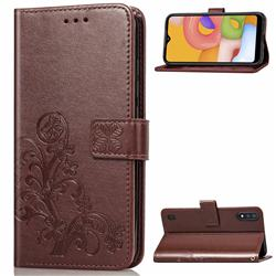 Embossing Imprint Four-Leaf Clover Leather Wallet Case for Samsung Galaxy A01 - Brown