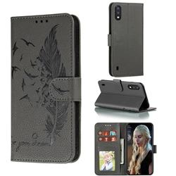 Intricate Embossing Lychee Feather Bird Leather Wallet Case for Samsung Galaxy A01 - Gray