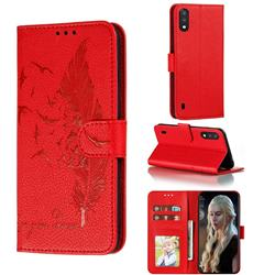 Intricate Embossing Lychee Feather Bird Leather Wallet Case for Samsung Galaxy A01 - Red