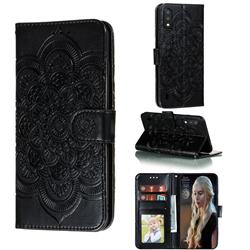 Intricate Embossing Datura Solar Leather Wallet Case for Samsung Galaxy A01 - Black