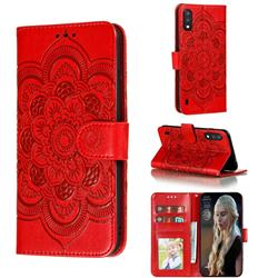 Intricate Embossing Datura Solar Leather Wallet Case for Samsung Galaxy A01 - Red