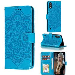 Intricate Embossing Datura Solar Leather Wallet Case for Samsung Galaxy A01 - Blue