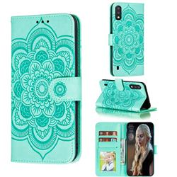 Intricate Embossing Datura Solar Leather Wallet Case for Samsung Galaxy A01 - Green