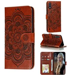 Intricate Embossing Datura Solar Leather Wallet Case for Samsung Galaxy A01 - Brown