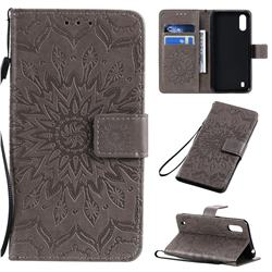 Embossing Sunflower Leather Wallet Case for Samsung Galaxy A01 - Gray