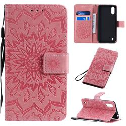 Embossing Sunflower Leather Wallet Case for Samsung Galaxy A01 - Pink
