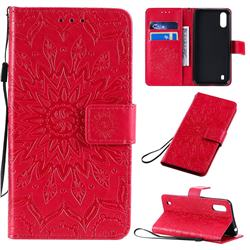 Embossing Sunflower Leather Wallet Case for Samsung Galaxy A01 - Red