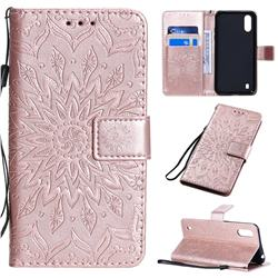 Embossing Sunflower Leather Wallet Case for Samsung Galaxy A01 - Rose Gold