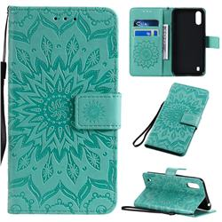 Embossing Sunflower Leather Wallet Case for Samsung Galaxy A01 - Green