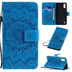 Embossing Sunflower Leather Wallet Case for Samsung Galaxy A01 - Blue