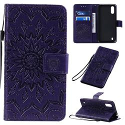 Embossing Sunflower Leather Wallet Case for Samsung Galaxy A01 - Purple