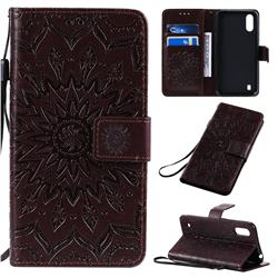 Embossing Sunflower Leather Wallet Case for Samsung Galaxy A01 - Brown