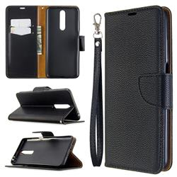 Classic Luxury Litchi Leather Phone Wallet Case for Samsung Galaxy A01 - Black