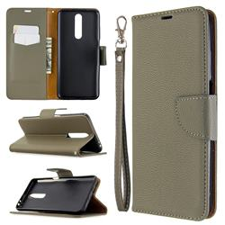 Classic Luxury Litchi Leather Phone Wallet Case for Samsung Galaxy A01 - Gray